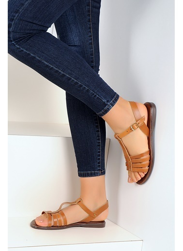 Pembe Potin A1134-19 Kadın Sandalet Taba